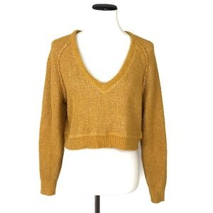 Free People Crop V-Neck Knit Sweater #2195